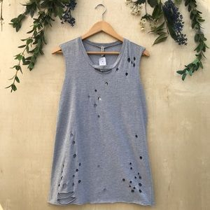 Emma & Sam Gray Distressed Muscle Tank